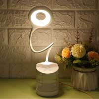 Rechargeable LED Table Lamp with Mobile Holder | 5W Neutral/Warm White LED, Adjustable Spiral, 1200 mAh Battery