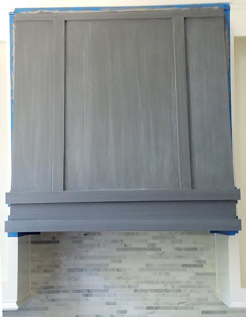 grey whitewash range hood makeover - white farmhouse kitchen