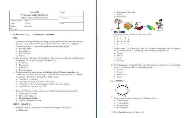 Soal PAS Kelas 3 SD/MI: Tema 7