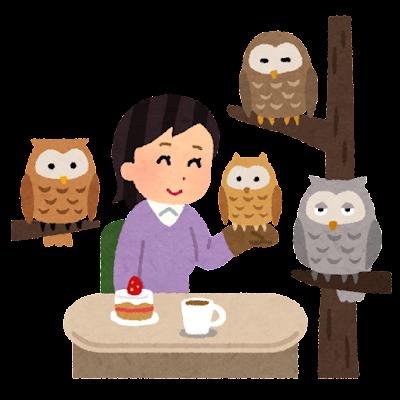 ふくろうカフェのイラスト