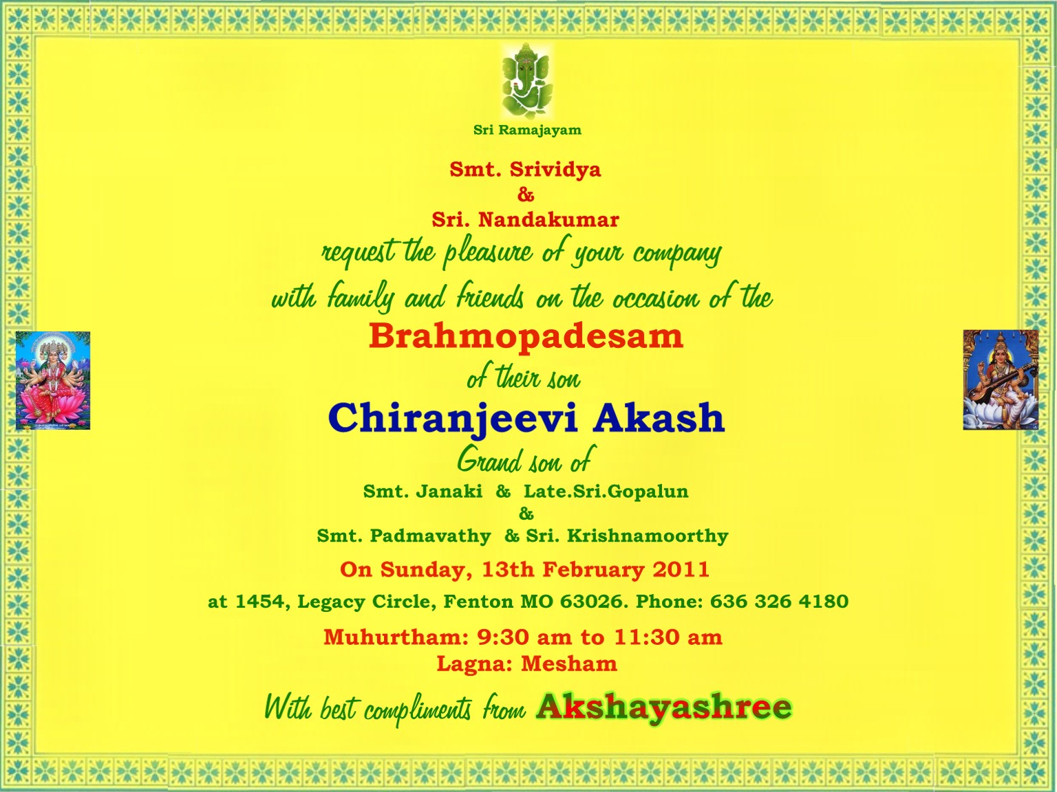 Upanayanam Invitation Card Sample | PaperInvite