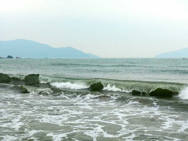 Waves crashing on Cheung Sha beach, Lantau Island, Hong Kong