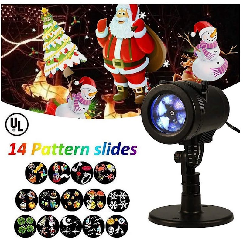 50% OFF Halloween & Christmas Lights Projector with 14 Slides Patterns, Outdoor Indoor Xmas Decorations Waterproof LED Landscape Spotlight for Xmas Theme Party Store Window & Gard