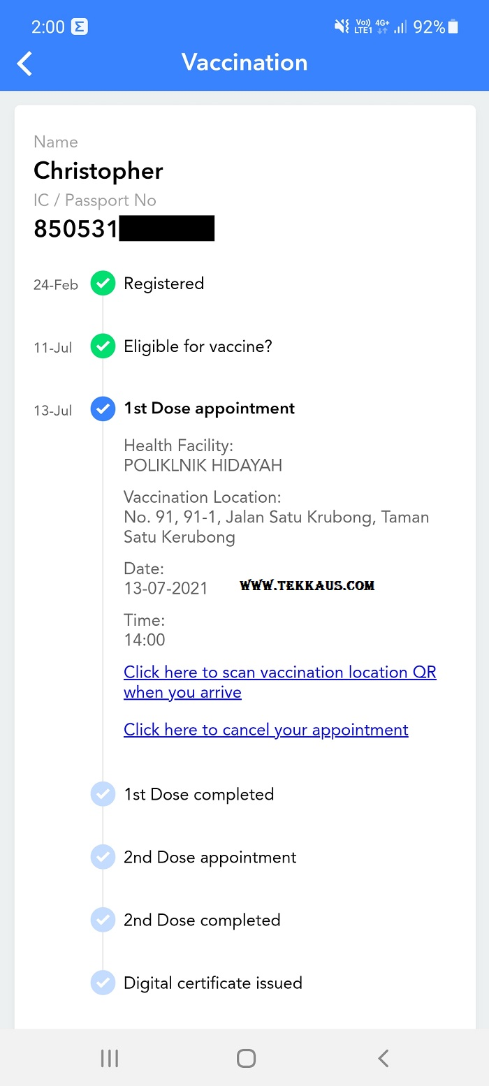 Vaccine Appointment via MySejahtera App How Does It Look Like