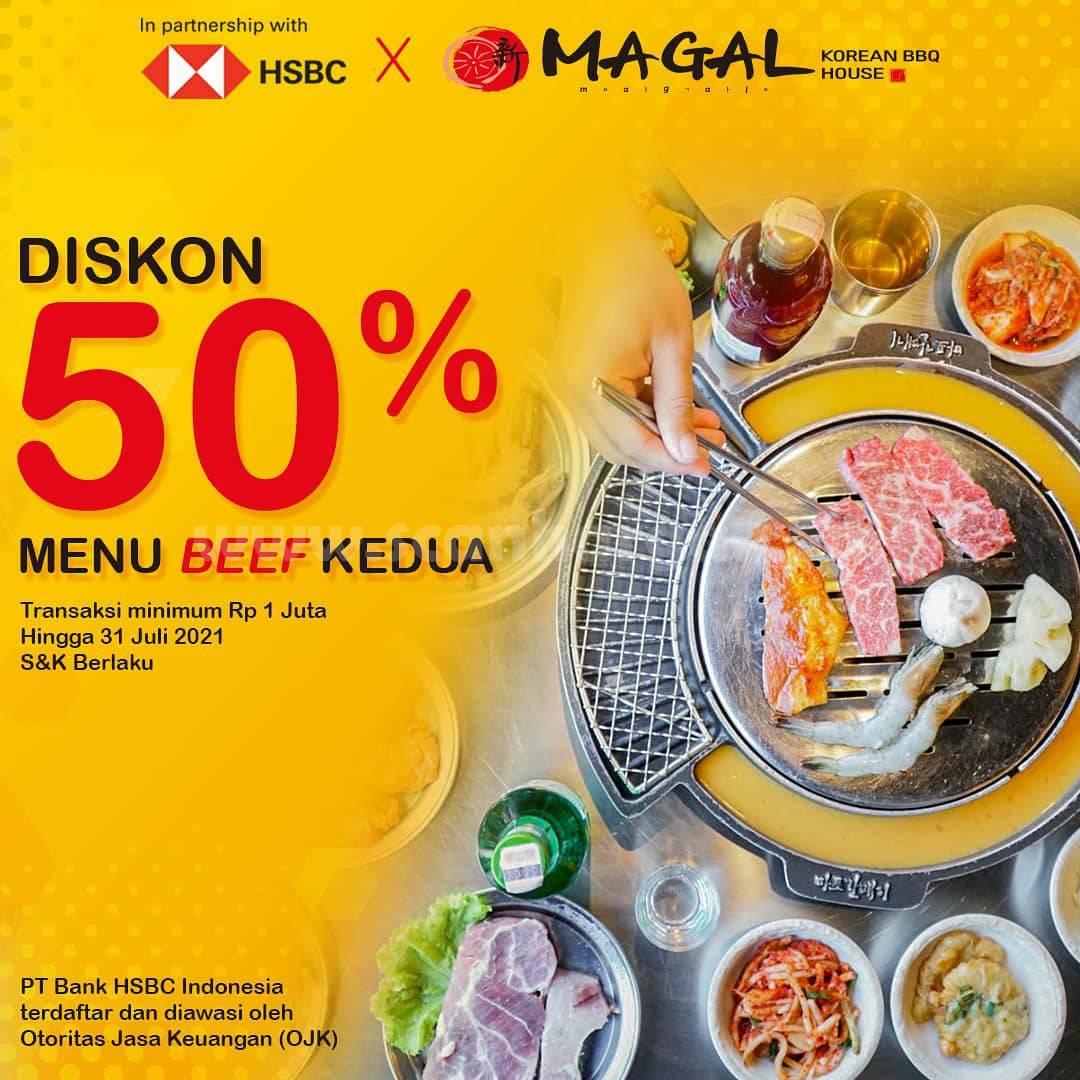 Promo Magal Korean BBQ House Diskon 50% Menu Beef Kedua dengan kartu Kredit HSBC
