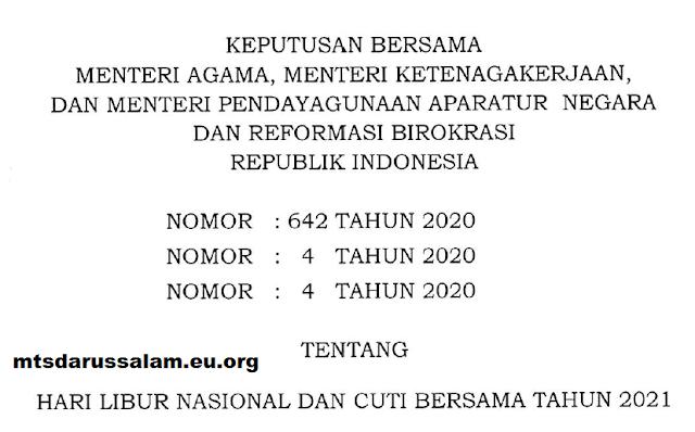 SKB (Surat Keputusan Bersama) Hari Libur Nasional Dan Cuti Bersama Tahun 2021