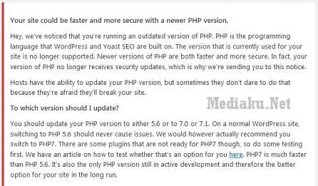 Tampilan PHP Versi WordPress