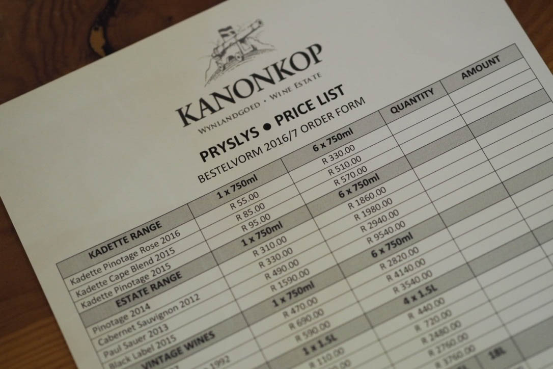 Kanonkop vineyard menu