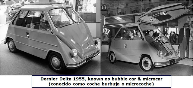 Dornier Delta 1955, known as bubble car & microcar  (conocido como coche burbuja o microcoche)