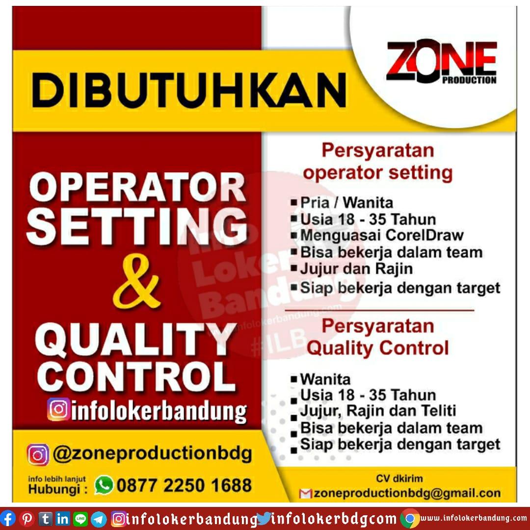 Lowongan Kerja Operator Setting & Quality Control Zone Production Bandung Juni 2020