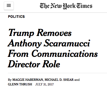 Scaramucci's tenure, which began ten days ago, has resulted in the  resignation of the press secretary, a press aide, the chief of staff, and  the Secretary ...