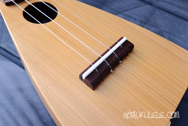 KM Ukuleles Boatpaddle Soprano Ukulele bridge