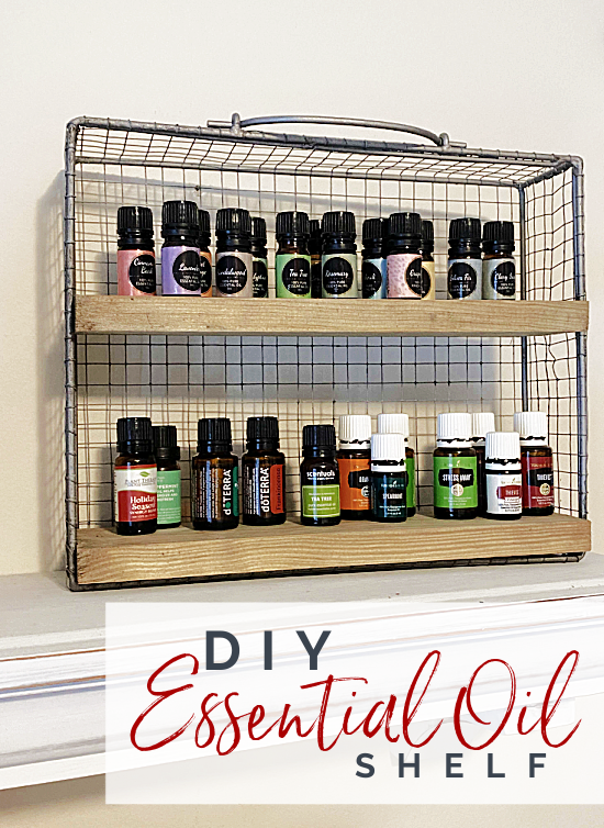 shelf filled with essential oils pin