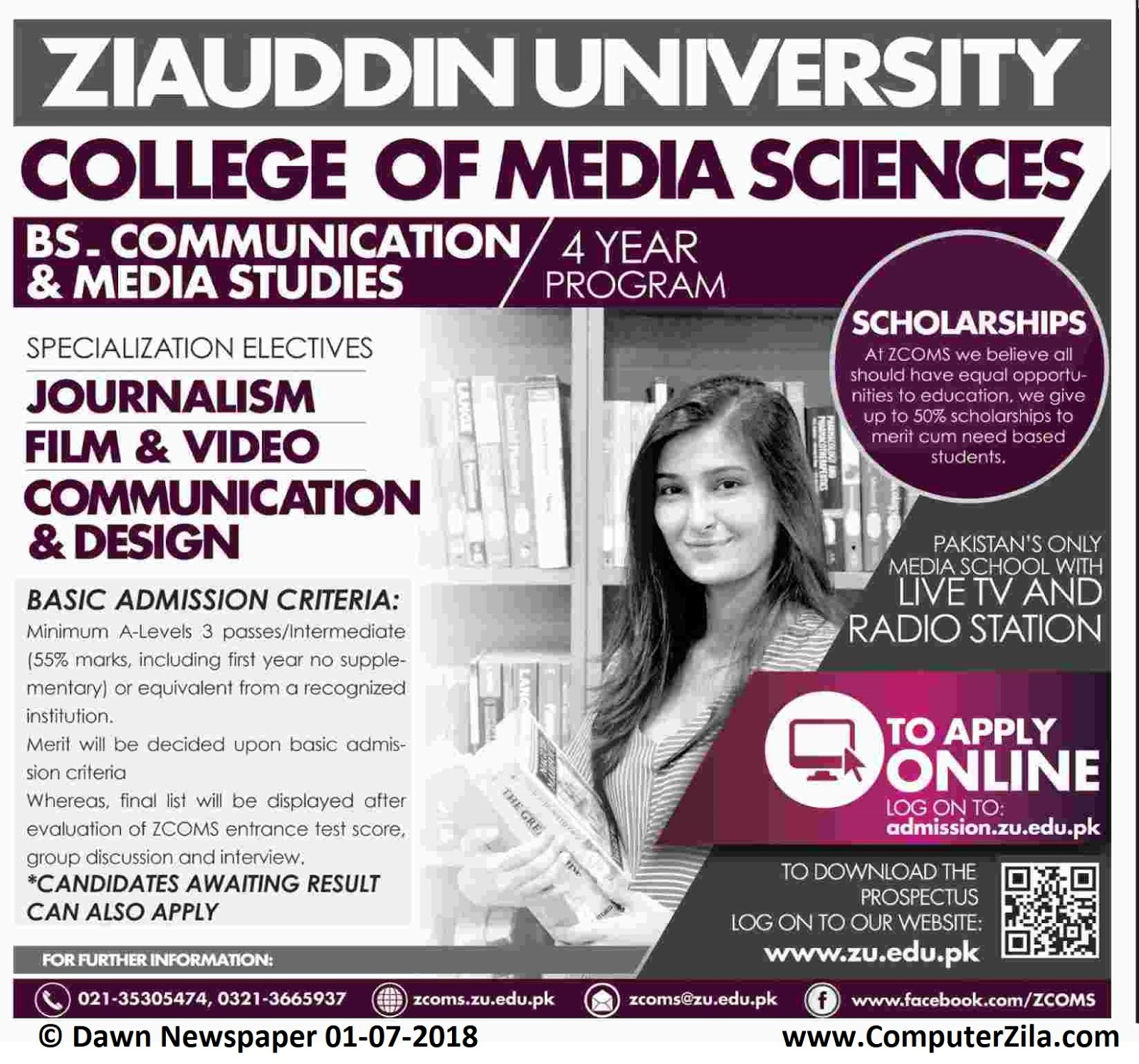 Ziauddin University College of Media Sciences Admissions Fall 2018