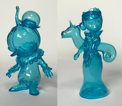 Tomenosuke + Circus Posterus Clear Cyan Sofubi Figures by Kathie Olivas, Brandt Peters & Tara McPherson