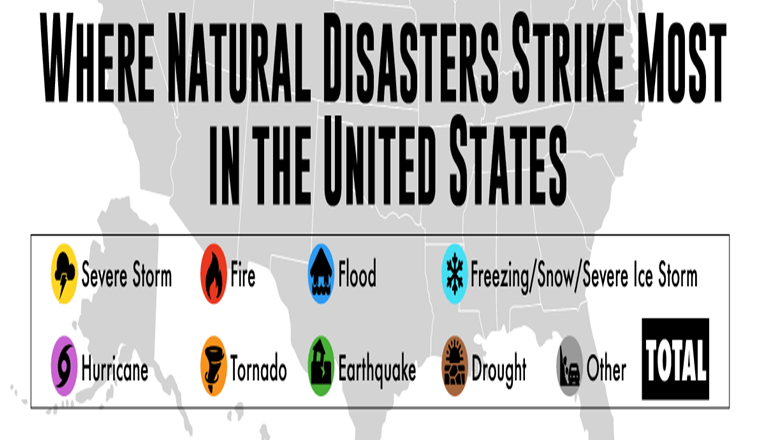 Where Natural Disasters Strike Most in the United States #Infographic