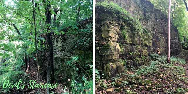 Craggy rock features, ferns and moss meld picturesque scenery at Devil's Staircase in Janesville, Wisconsin.