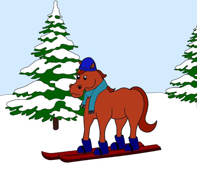 ski - cheval - équitation - dessin