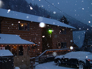 Lovely winter snowy day at Ski Town Condos.  Deck lights along the railing are glowing in the snow.