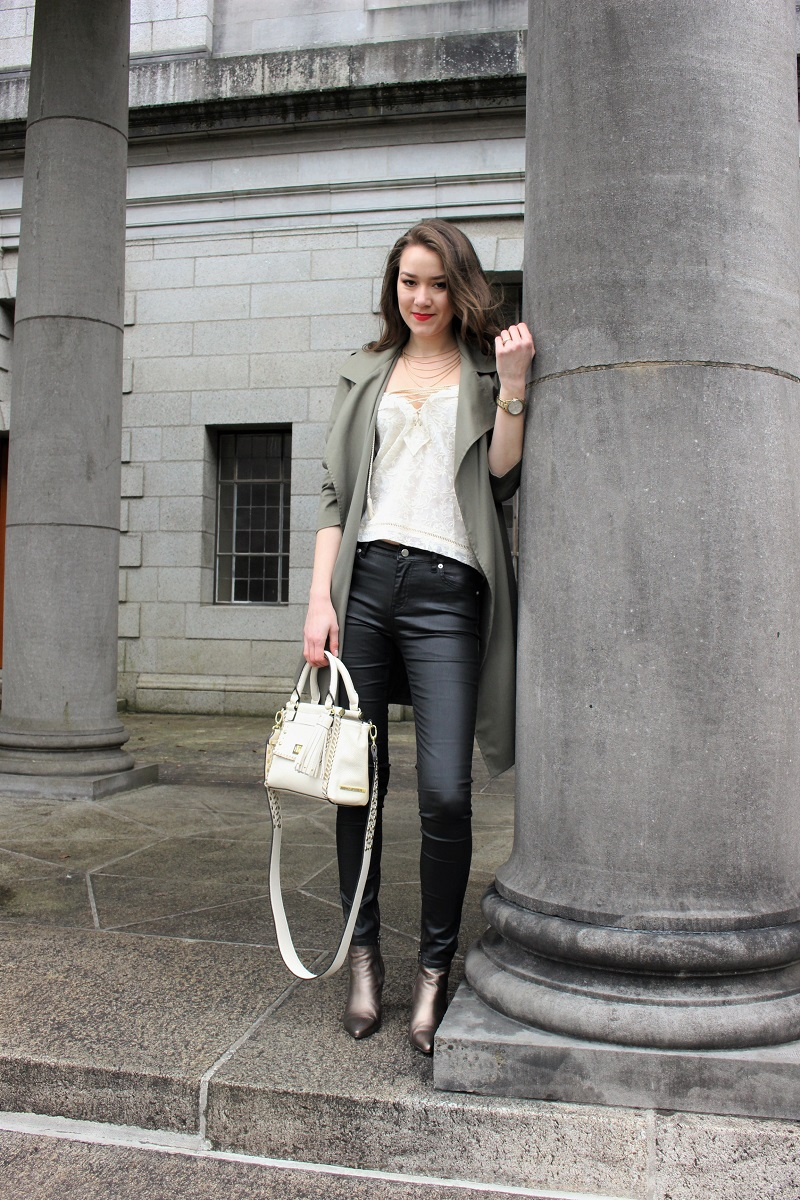 leather pants and lace up top
