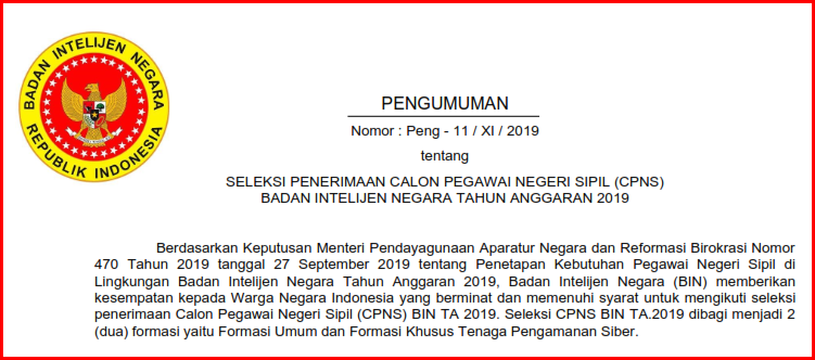 Cpns Badan Intelijen Negara Tahun 2019