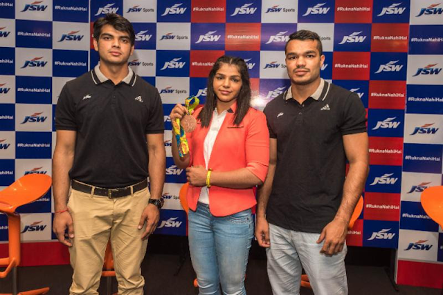Olympic Bronze Medllist Sakshi Malik, JSW Sports Director, Parth Jindal, CEO Mustafa Ghouse interact with the media in Mumbai