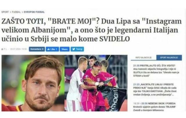 Francesco Totti fa arrabbiare i serbi dopo aver piaciuto il post di Dua Lipa