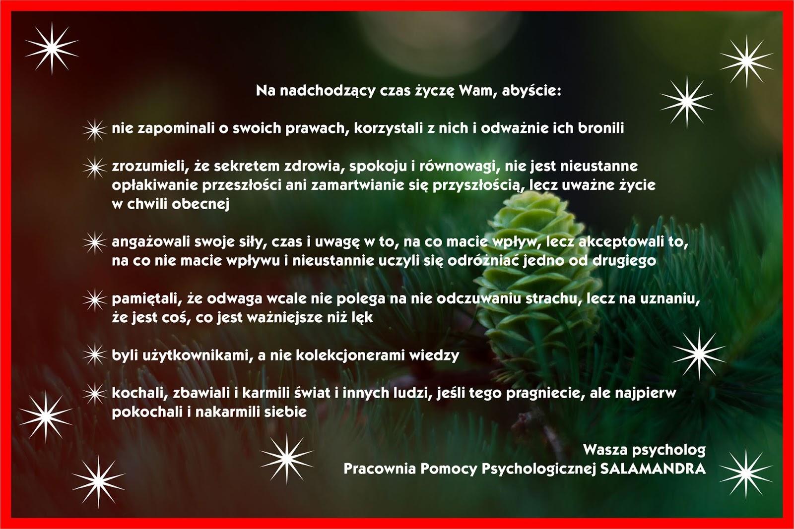 Psychologiczne życzenia Świąteczne - Boże Narodzenie 2019