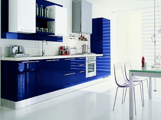 Modern Blue Modular Kitchen Cabinet