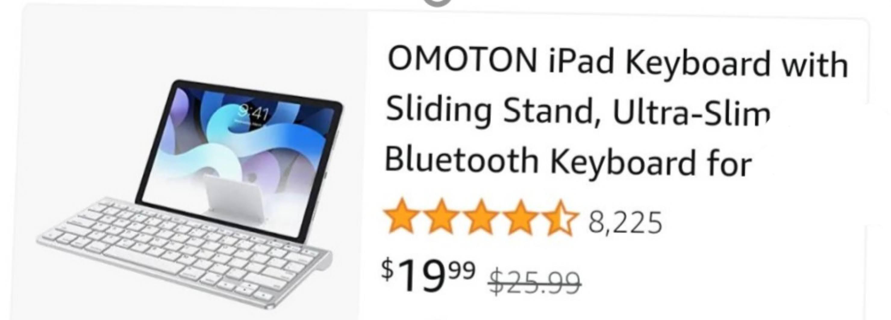 OMOTON iPad Bluetooth keyboard with sliding stand $19.99