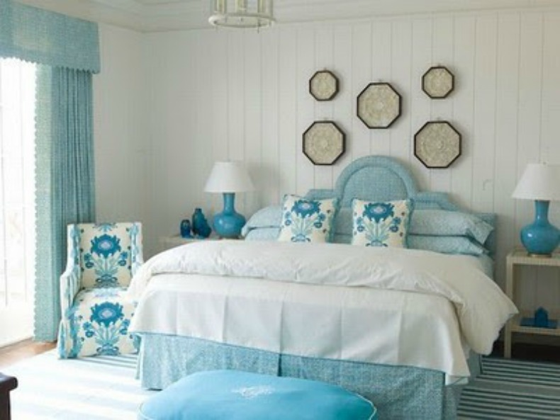 coastal, blue, bedroom