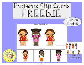 https://www.teacherspayteachers.com/Product/Dental-Health-Patterns-Task-Clip-Cards-FREEBIE-2972795