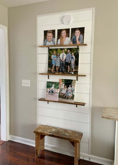 Picture Ledge Shelves on sharpie shiplap accent wall