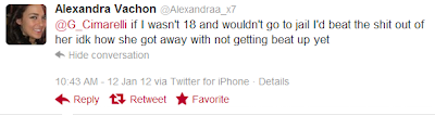 Screen shot of Alexandra Vachon (@Alexandra_x7) tweet: '@G_Cimarelli if I wasn't 18 and wouldn't go to jail i'd beat the shit out her idk how she got away with not getting beat up yet