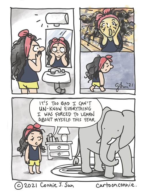 A comic about self-awareness, drawn by Connie Sun, cartoonconnie