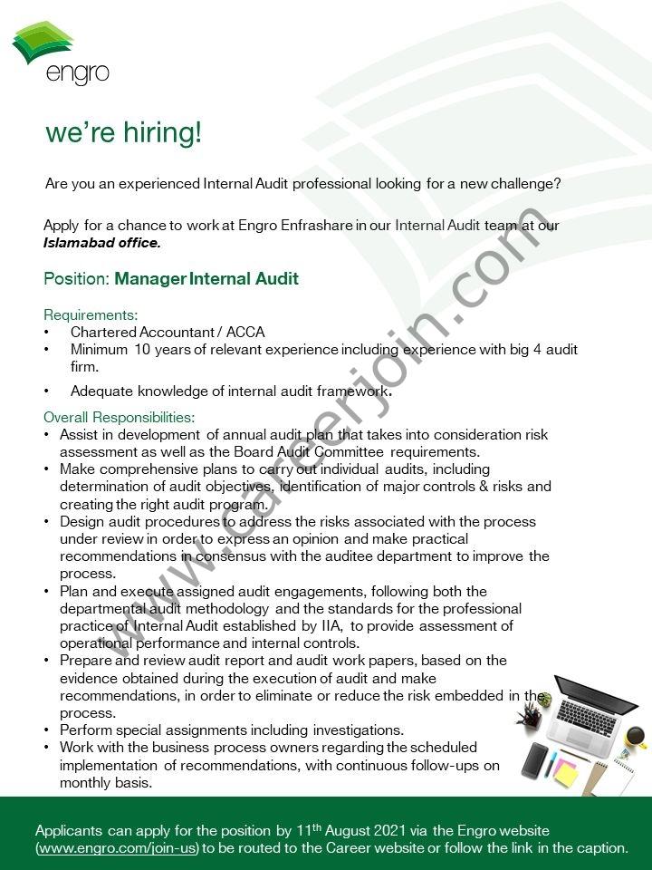 Engro Enfrashare Jobs Manager Internal Audit