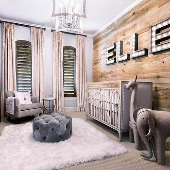 cute rustic baby nursery design ideas gray ottoman gray sofa beige window curtains