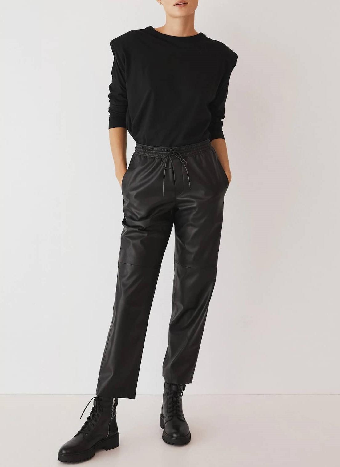 leather elastic waist trousers