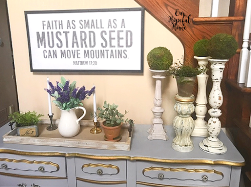mustard seed wall art foyer buffet candlesticks farmhouse ironstone pitcher
