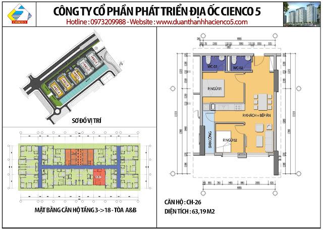 Mặt bằng căn hộ CH26 tầng 3-18 tòa HH02A&B