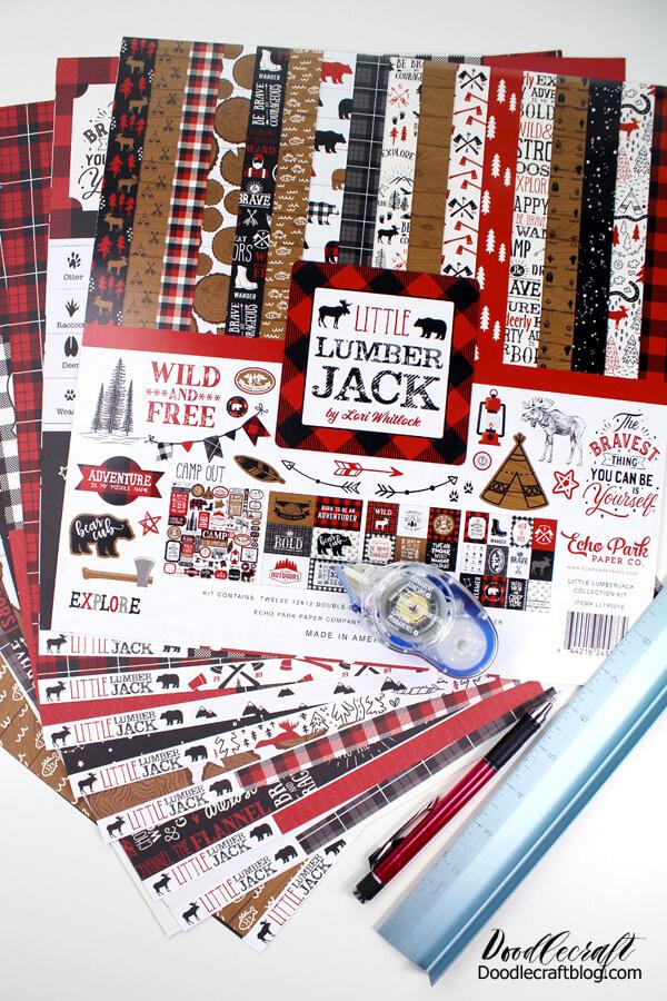 Double sided Lumberjack paper from Echo Park for folding envelopes.