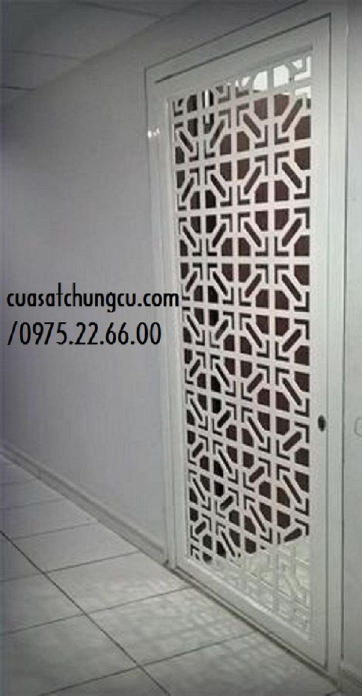 Mẫu cửa sắt chung cư cắt CNC đẹp kết hợp hình chữ thập và hình bát giác nhã nhẵn cứng cáp