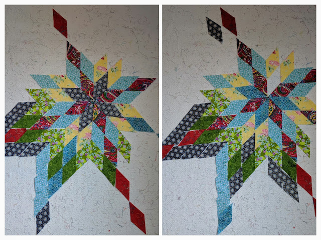 Two collaged photos show the center star of alternating navy and dark red on the left and medium blue and red on the right.