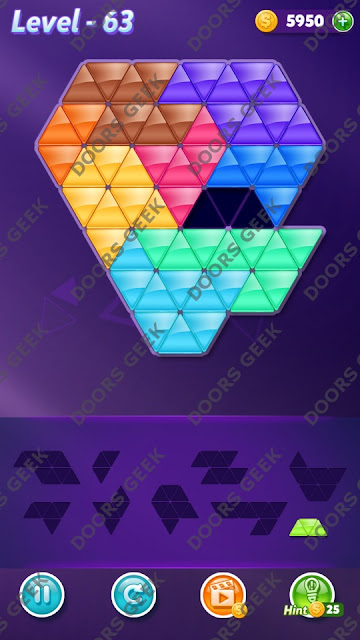 Block! Triangle Puzzle Proficient Level 63 Solution, Cheats, Walkthrough for Android, iPhone, iPad and iPod
