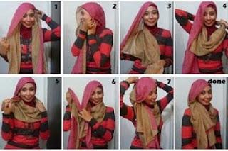 tutorial cara dan contoh memakai jilbab modern dengan gambar
