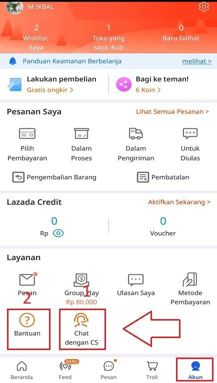 Layanan Bantuan dan Chat dengan CS di Aplikasi Marketplace Lazada.