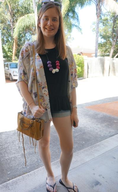 Somedays Lovin' Yakuza print kimono, peplum tank, denim shorts | AwayFromBlue