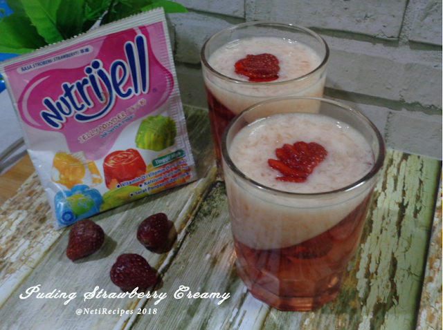 Puding Strawberry Creamy @NetiRecipes 2018