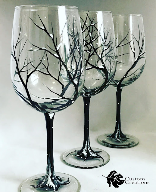 Custom hand-painted wine glasses