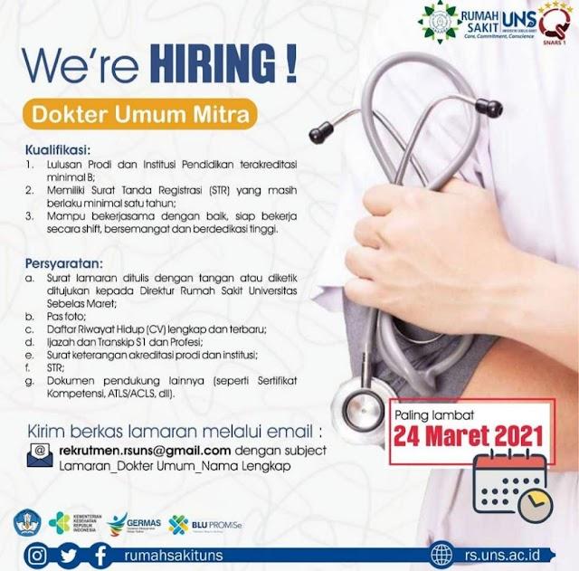 Loker Dokter Umum RS UNS Solo, Jawa Tengah